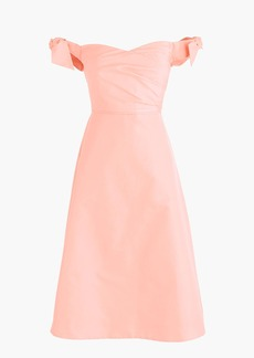 Tall off-the-shoulder strapless dress with ties in faille