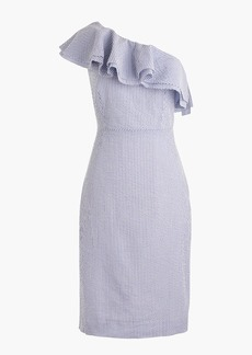 Tall one-shoulder ruffle dress in seersucker