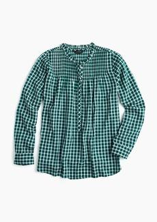 J.Crew Tall ruffle classic popover shirt in mini windowpane