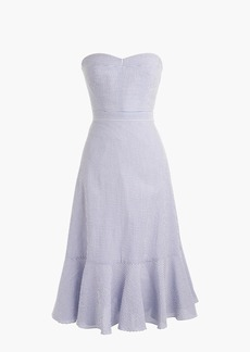 J.Crew Tall strapless ruffle-hem dress in seersucker