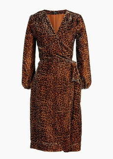 J.Crew Wrap dress in drapey velvet blush leopard