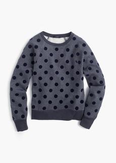 Textured polka dot raglan sweatshirt