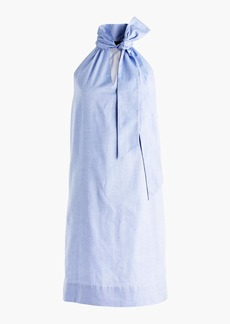 Tie-neck dress in oxford cotton