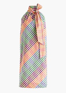 Tie-neck dress in rainbow gingham