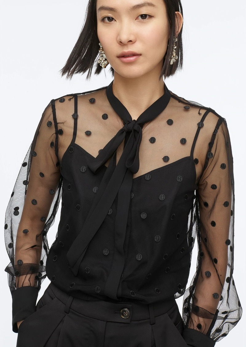 J.Crew Tie-neck long-sleeve blouse in dotted  tulle