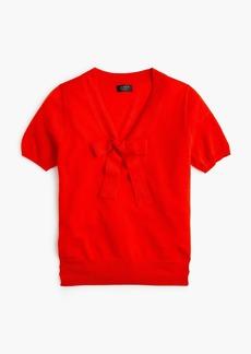 J.Crew Tie-neck short-sleeve sweater in everyday cashmere