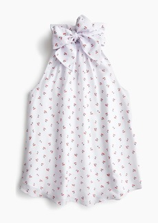J.Crew Tall tie-neck top in cherry print