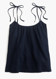 J.Crew Tie-shoulder crinkle cotton swing cami
