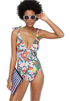 J.Crew Tie-Shoulder One-Piece In Confetti Floral
