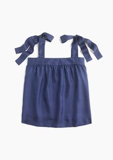 Tie-shoulder silk top in polka dot