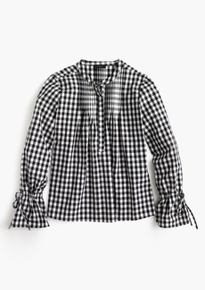 Tie-sleeve top with pin tucks in gingham