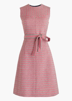 Tie-waist dress in Italian tweed