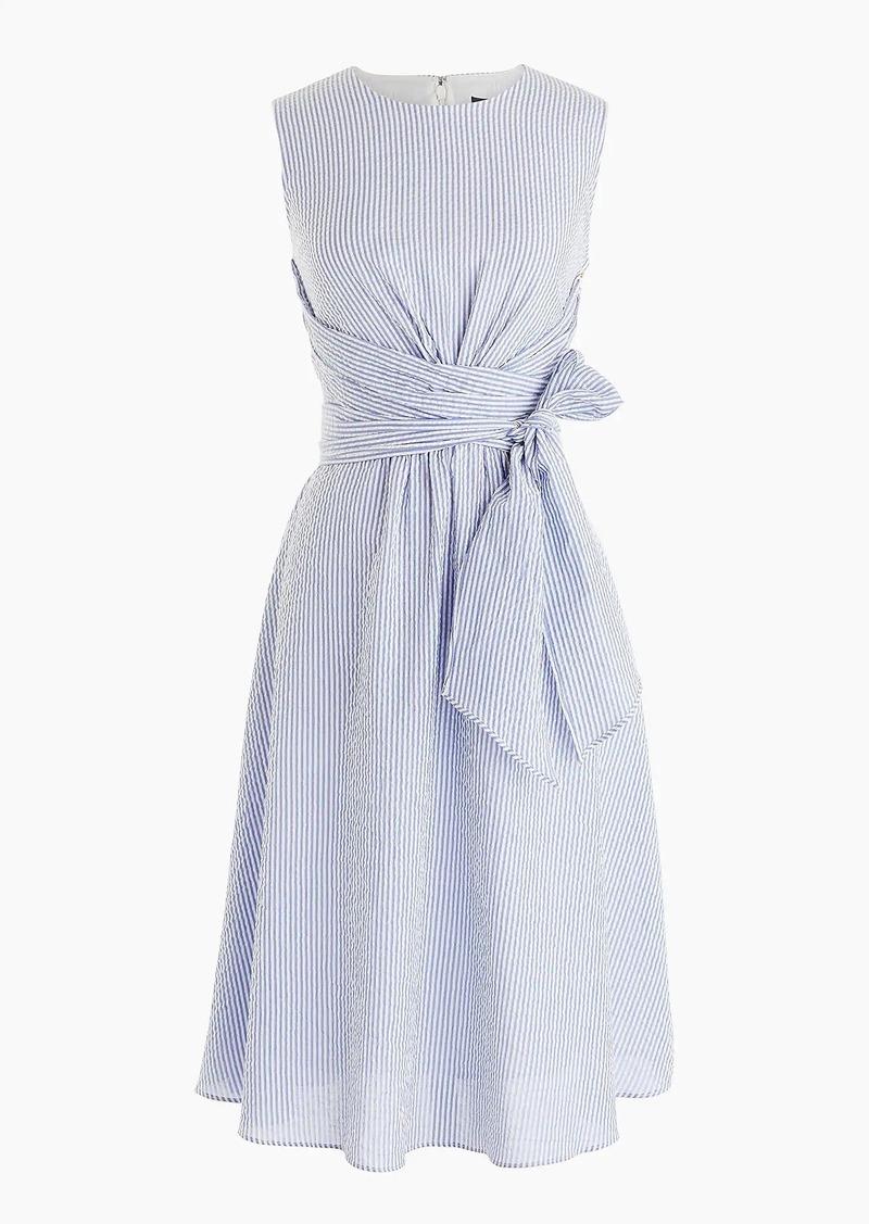 J Crew Tie Waist Seersucker Dress Dresses