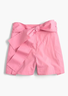 Tie-waist short in cotton poplin
