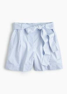 Tie-waist short in shirting stripe