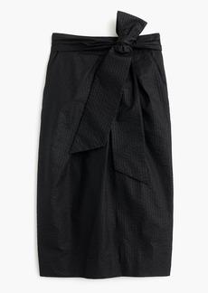 Tie-waist skirt in dyed seersucker
