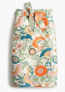 Tie-waist skirt in ornate floral