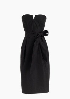 Tie-waist strapless dress in faille
