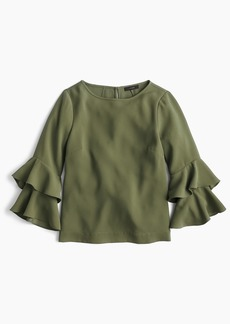 J.Crew Tiered bell-sleeve top in drapey crepe