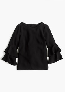 J.Crew Petite Tiered bell-sleeve top in drapey crepe