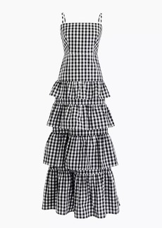 J.Crew Petite tiered gingham gown
