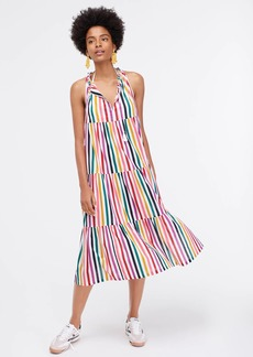 J.Crew Tiered maxi beach dress in crinkle cotton in rainbow stripes