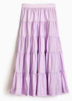 J.Crew Petite tiered midi skirt in cotton poplin