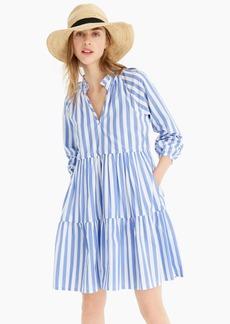 J.Crew Tiered popover dress in striped cotton poplin
