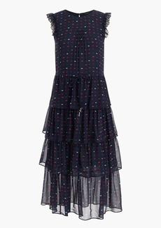 Tiered silk dress in lip print