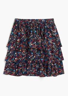 Tiered skirt in kaleidoscope star print