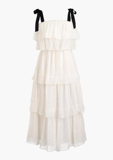 Tiered tie-shoulder dress in clip-dot