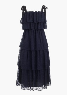 J.Crew Tiered tie-shoulder dress in clip-dot