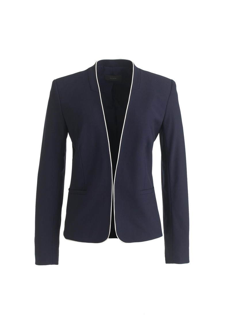 J.Crew Tipped collarless blazer in Italian stretch wool