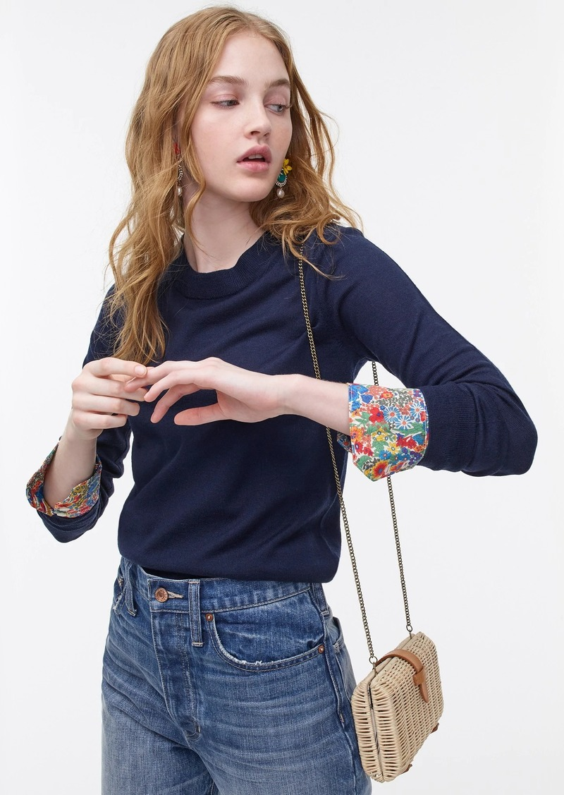 J.Crew Tippi crewneck sweater with Liberty® print cuffs in Re-Imagined Wool