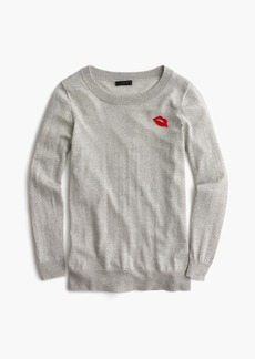 J.Crew Tippi sweater with embroidered lips