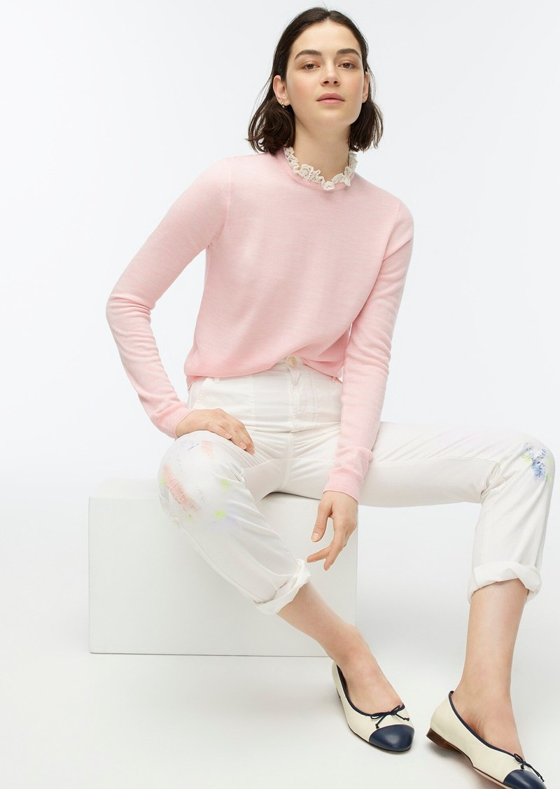 J.Crew Tippi sweater with lace collar detail