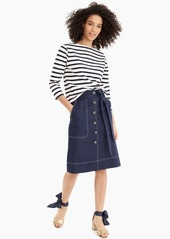 J.Crew Top-stitched midi skirt in stretch linen
