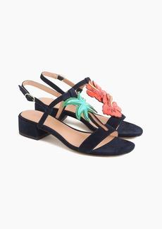 J.Crew Tropical low-heel sandals in suede