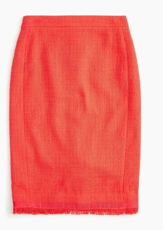 J.Crew Petite tweed pencil skirt with fringe