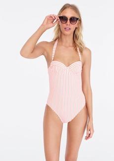 J.Crew Underwire halter one-piece swimsuit in suckered stripe