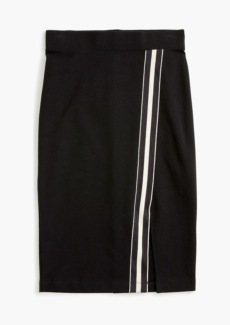Universal Standard for J.Crew French terry slit skirt with track stripe