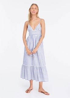 J.Crew V-neck linen midi dress in stripes