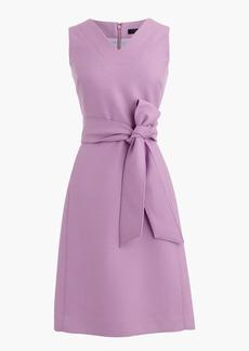 V-neck sheath dress in double-serge wool