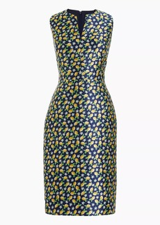 Tall V-neck sheath dress  in lemon jacquard