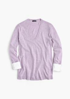 J.Crew V-neck sweater with shirt cuffs