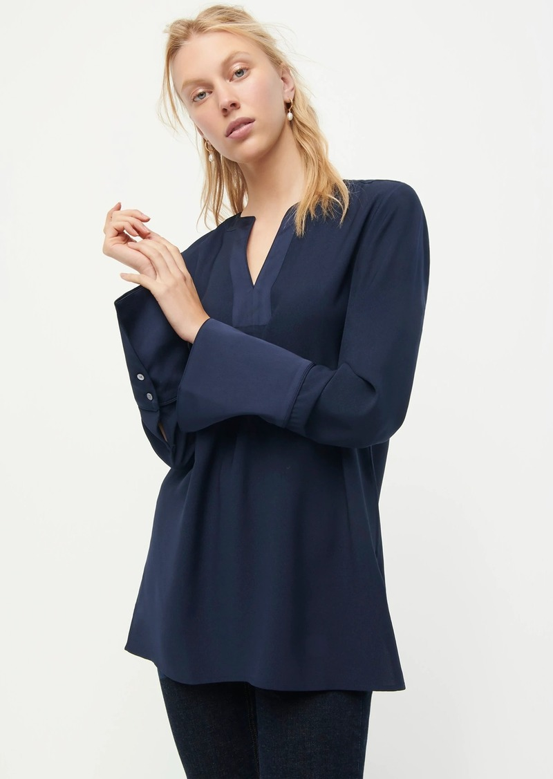 J.Crew V-neck tunic in satin-backed crepe