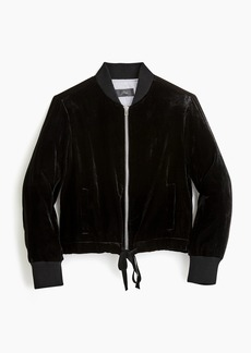 J.Crew Velvet bomber jacket with waist ties