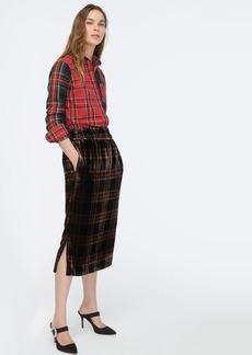 J.Crew Velvet pull-on skirt in Stewart tartan