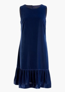 Velvet ruffle-hem dress