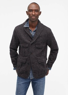 J.Crew Wallace & Barnes salt-and-pepper fleece cardigan